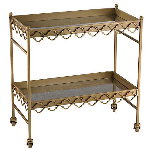 Aubrey Antiqued Bar Cart, Gold