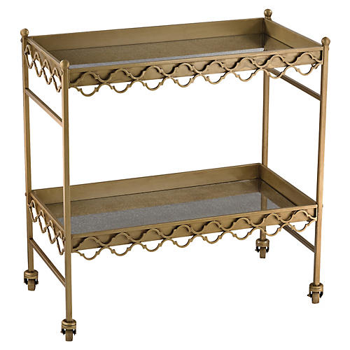 Aubrey Antiqued Bar Cart, Gold