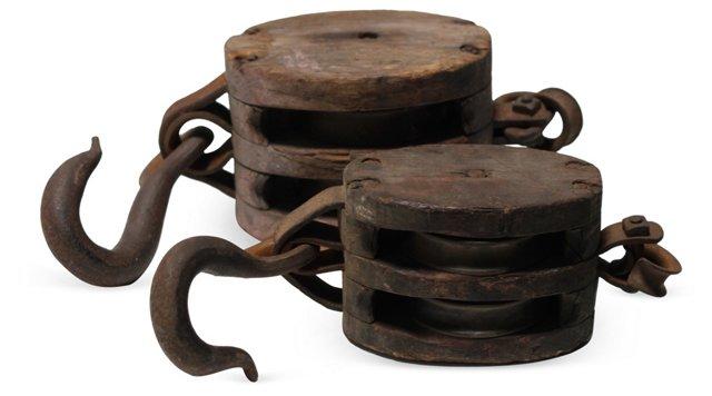 Vintage Hooks w/ Pulleys, Set of 2