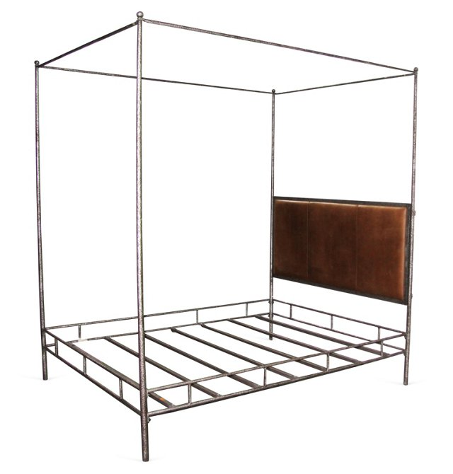 Iron & Leather Bed, Queen