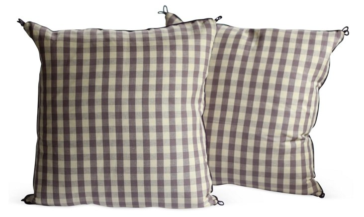 Purple Checked Pillows, Pair