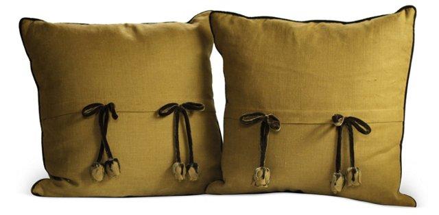 Green Pillows w/ Velvet Bows, Pair