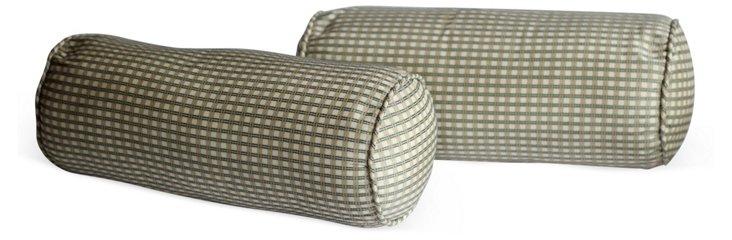 Green Checked Bolster Pillows, Pair