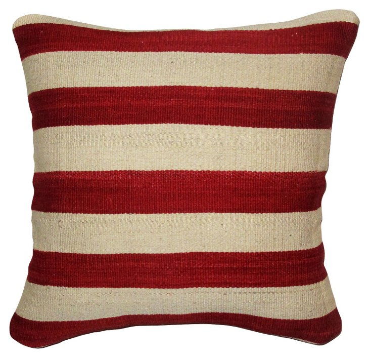 Striped 20x20 Pillow, Red