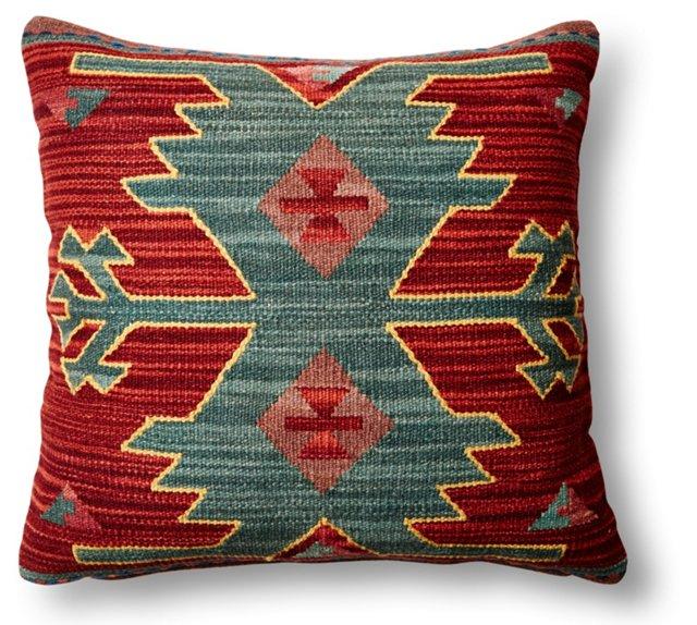 Figure Wool-Blended Pillow, Multi