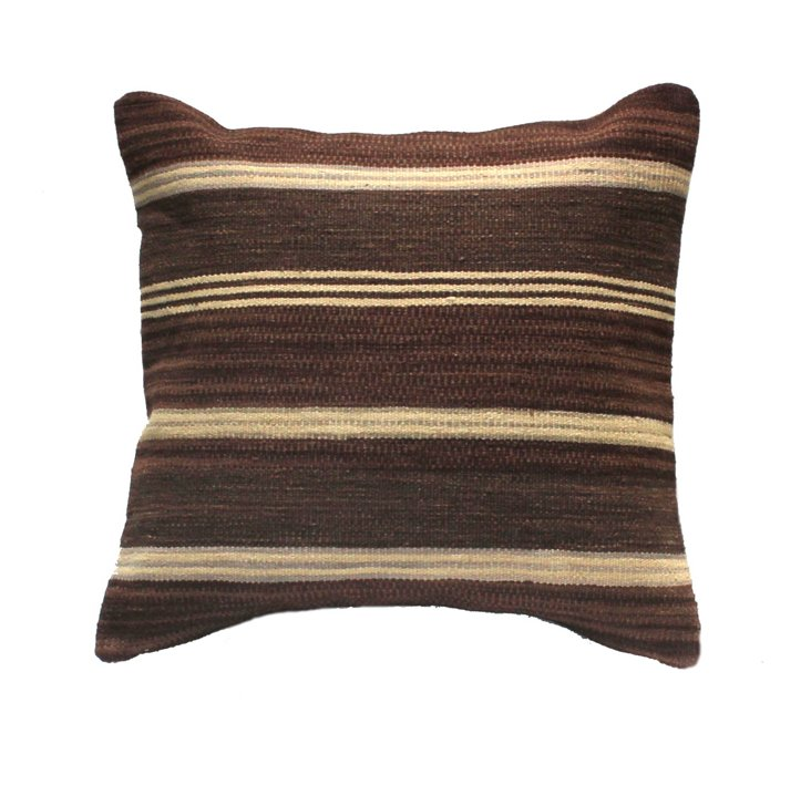 Linear 24x24 Wool-Blended Pillow, Brown