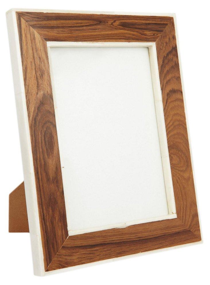 Bone & Teak Frame, 5x7, Brown/White