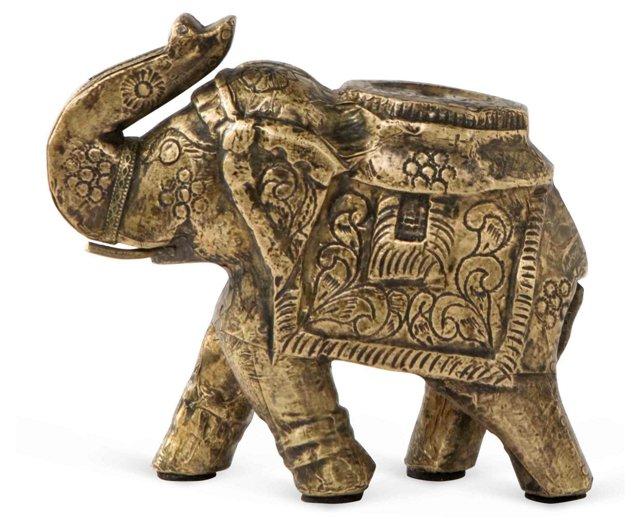 "4"" Carved Elephant Figurine, Brass"