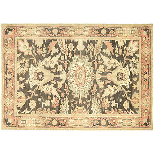 "4'5""x6'3"" Egyptian Sultanabad Rug, Charcoal/Multi"