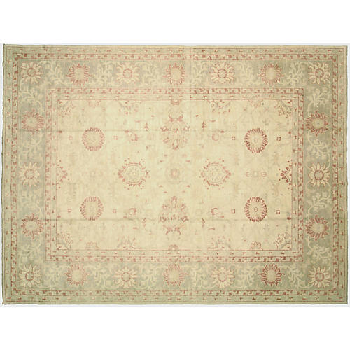 "9'4""x12'5"" Turkish Oushak Rug, Beige/Multi"