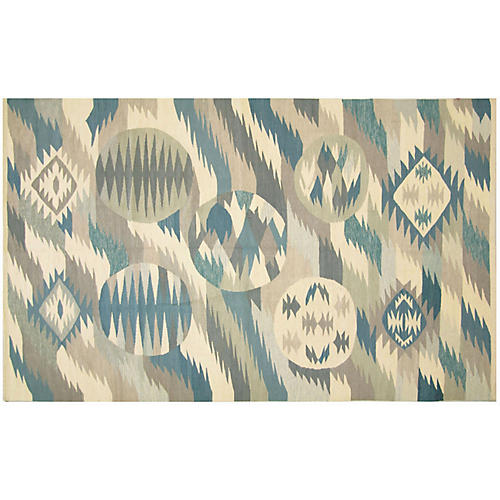 "6'1""x10'3"" Scandinavian Kilim, Blue/Multi"