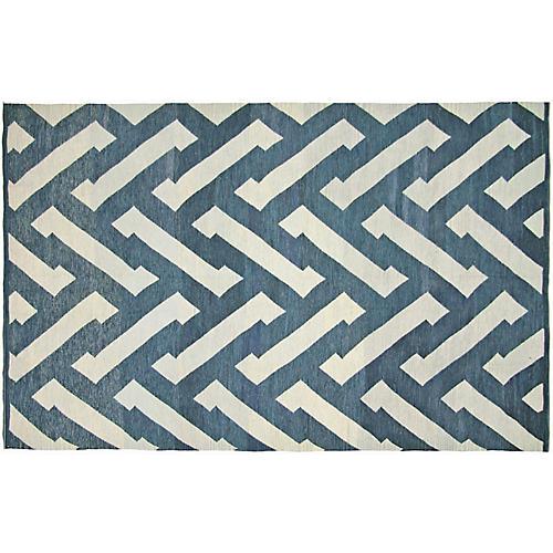 "6'6""x9'10"" Egyptian Kilim, Blue/Gray"