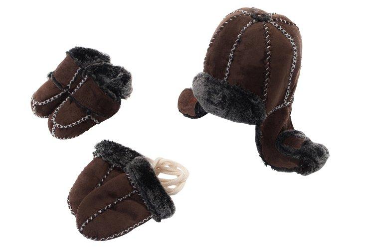 Bootie, Hat & Mitten Set, Brown