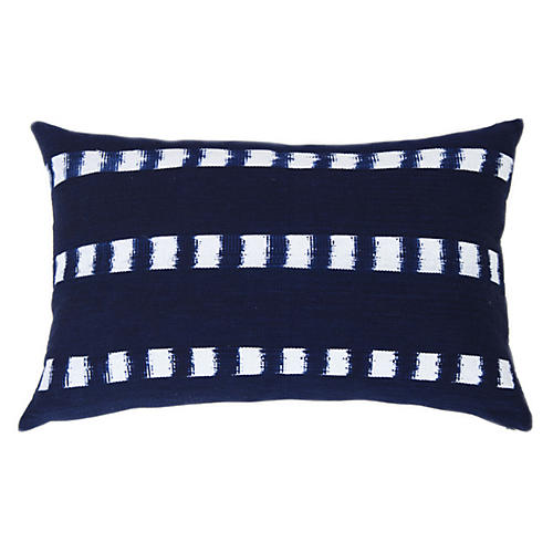 Chimas 16x24 Lumbar Pillow, Indigo/White