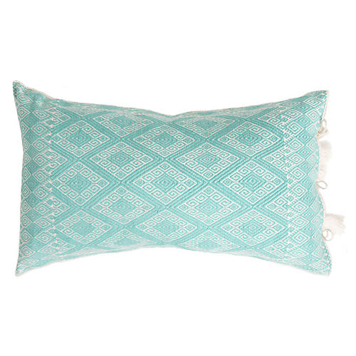 Cardinal Points 13x20 Lumbar Pillow, Mint Green