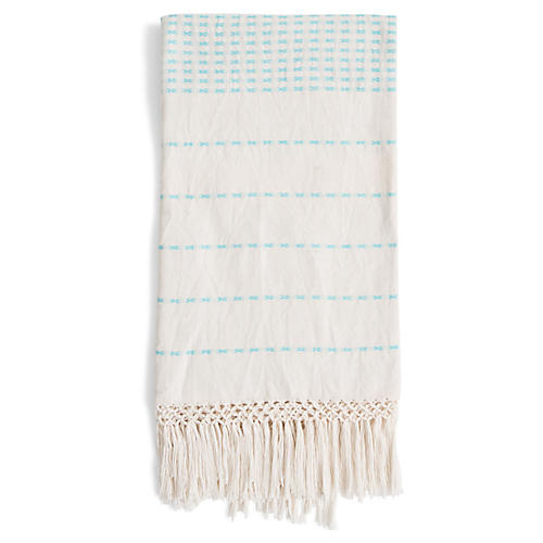 Lineas Cotton Throw, Bright Blue