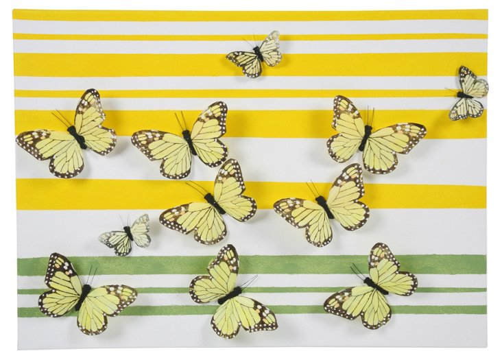 Butterfly Art on Canvas, Green & Yellow