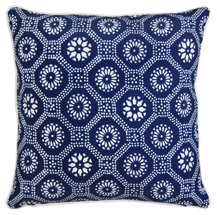 Honeycomb 16x16 Pillow, Blue/White