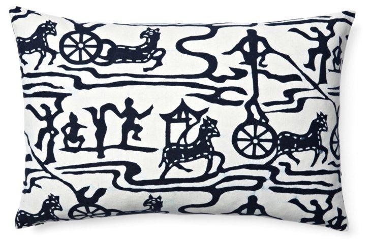 Horseplay 16x24 Cotton Pillow, Indigo