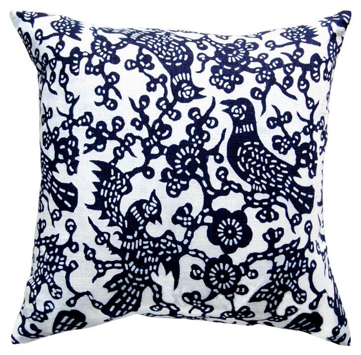 Floral 20x20 Cotton Pillow, Indigo