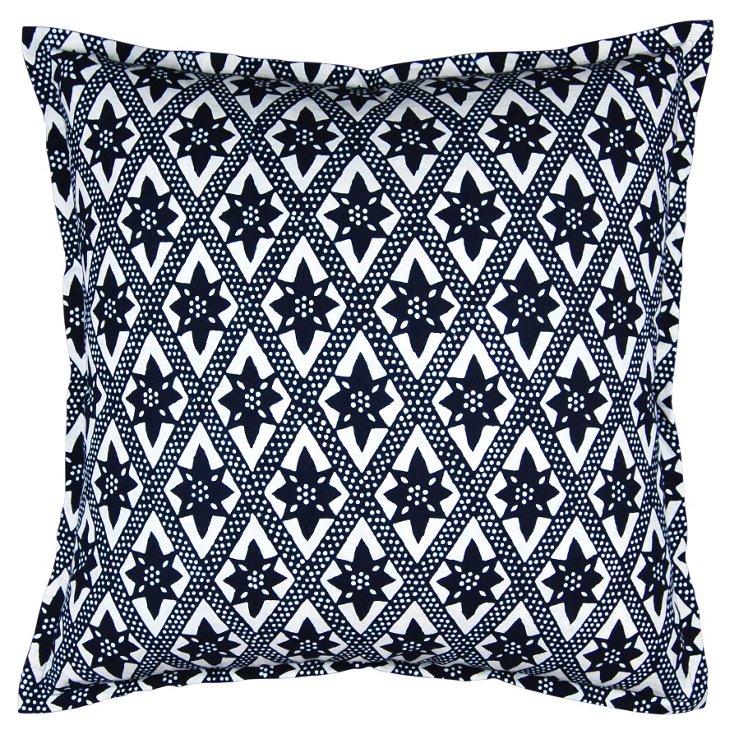 Bold 24x24 Cotton Pillow, Indigo