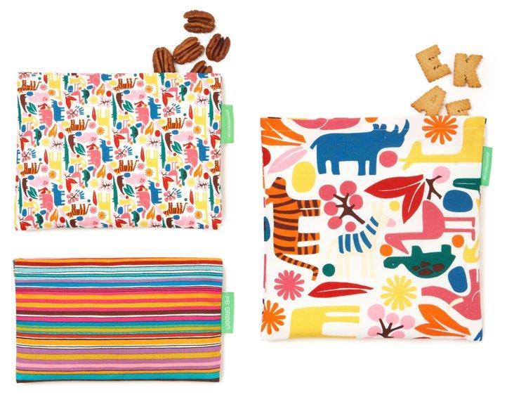 3-Piece Zoo Stripe Bag Set