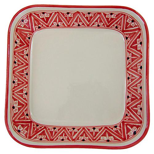 Nejma Square Platter, Red/White