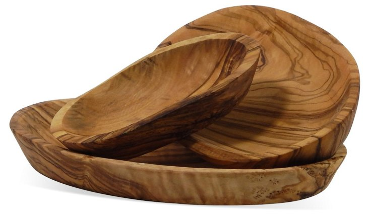 S/3 Olive-Wood Oval Nesting Bowls