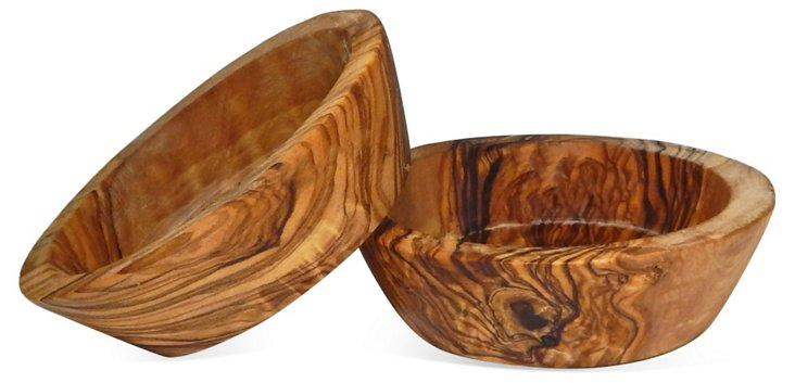 S/2 Olive Wood Pinch Bowls