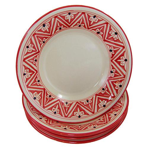 S/4 Nejma Dinner Plates, Red/White