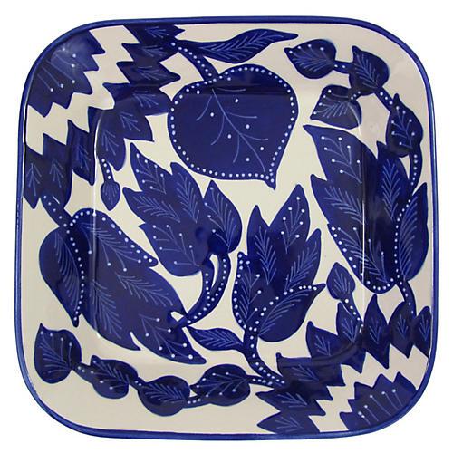 Jinane Square Platter, Cobalt Blue/White