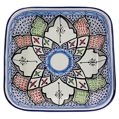 Tibarine Square Platter, Light Cobalt Blue