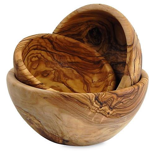 Asst. of 3 Olivique Nesting Bowls, Natural