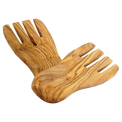 S/2 Olivique Salad Hands, Natural