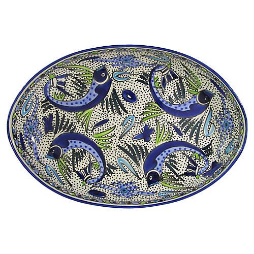 Aqua Fish Poultry Platter, Cobalt Blue