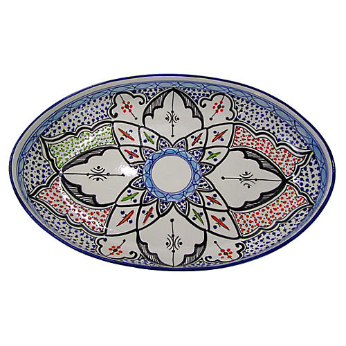 Tibarine Poultry Platter, Light Cobalt Blue