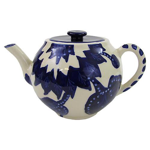 Jinane Teapot, Cobalt Blue/White