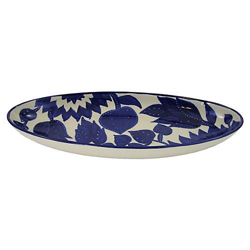 Jinane Extra Large Platter, Cobalt Blue/White