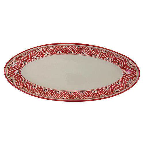 Nejma Extra Large Platter, Red/White