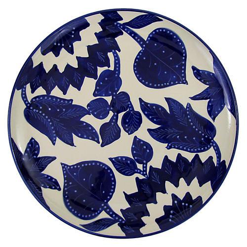Jinane Round Platter, Cobalt Blue/White