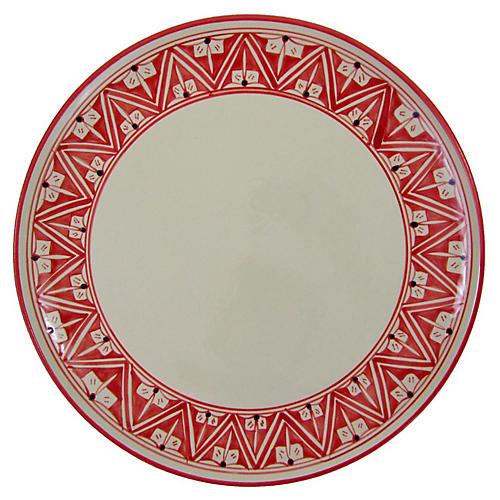 Nejma Round Platter, Red/White