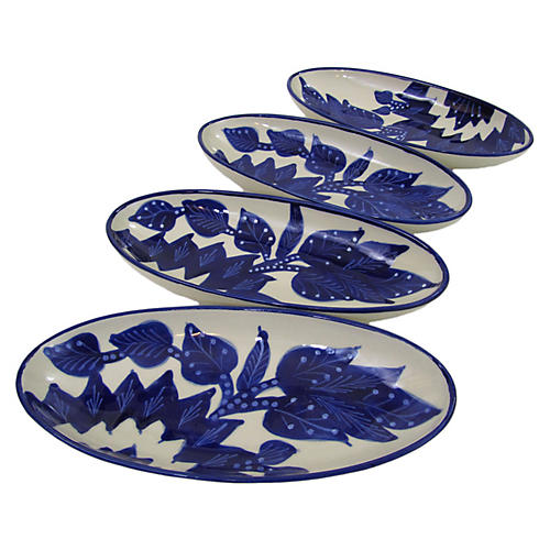 S/4 Jinane Small Platters, Cobalt Blue/White