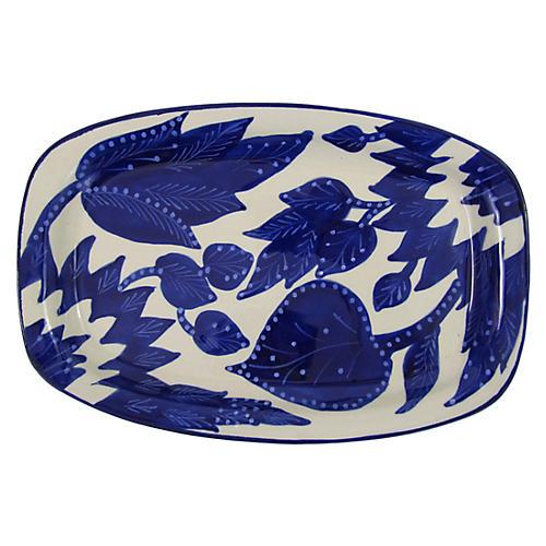 Jinane Rectangular Platter, Cobalt Blue/White