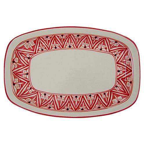 Nejma Rectangular Platter, Red/White