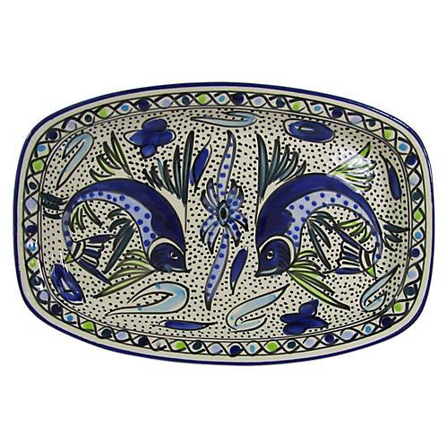 Aqua Fish Rectangular Platter, Cobalt Blue