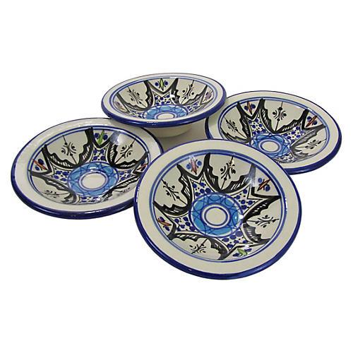 S/4 Tibarine Round Sauce Dishes, Light Cobalt Blue