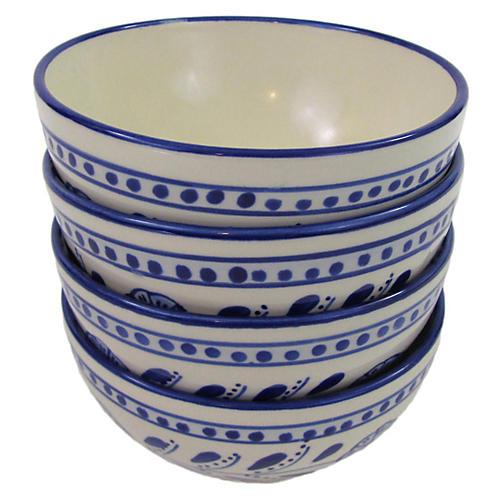 S/4 Azoura Soup Bowls, Blue/White