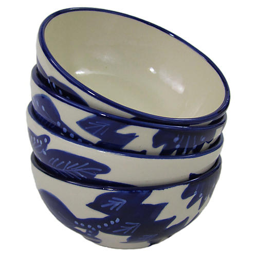 S/4 Jinane Deep Sauce Dishes, Cobalt Blue/White