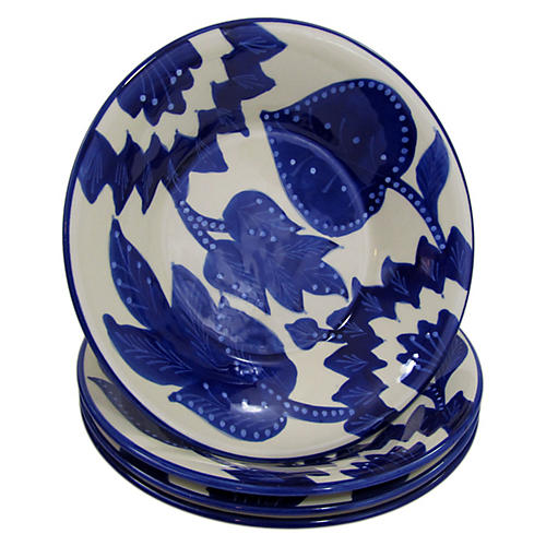 S/4 Jinane Dinner Bowls, Cobalt Blue/White