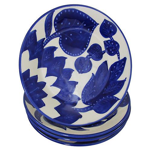 S/4 Jinane Side Plates, Cobalt Blue/White